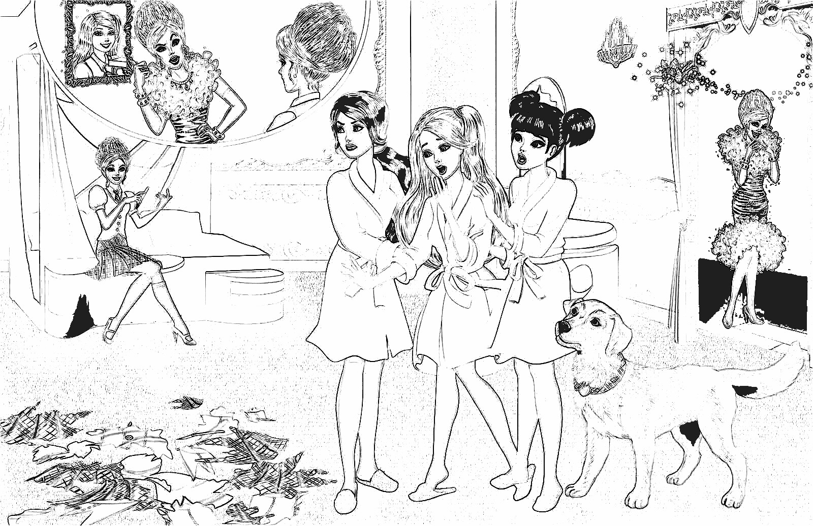 Barbie Princess Charm School Coloring Pages 2